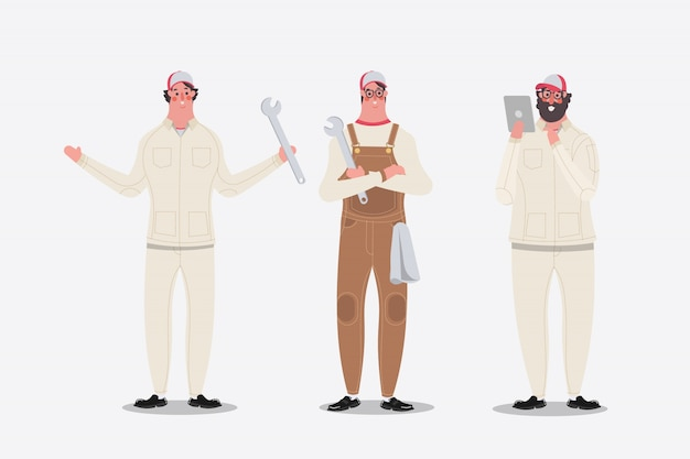 Cartoon character design illustration. Mechanic\ showing greetings, and used tablet