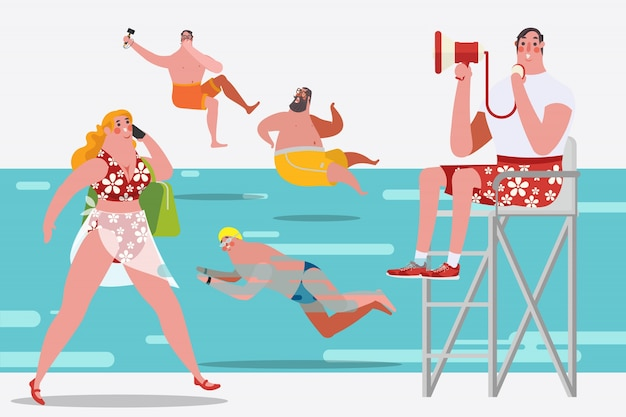 Cartoon character design illustration. People\ in the Swimming Pool