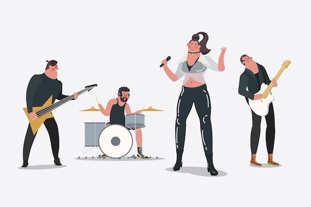 Cartoon character design illustration.\ Professional band