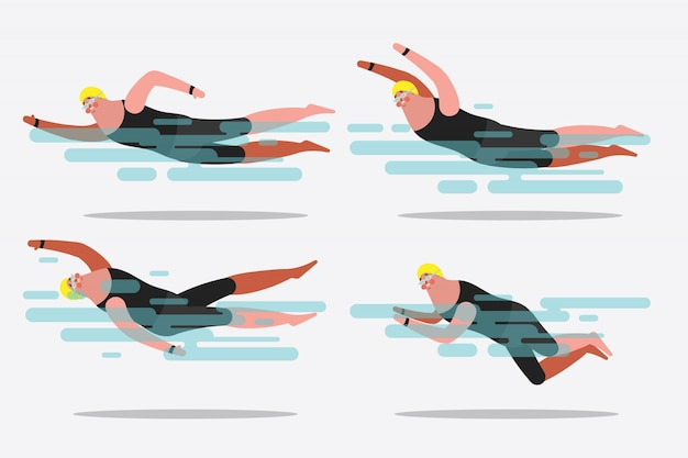 Cartoon character design illustration. show various swimming postures. Free Vector
