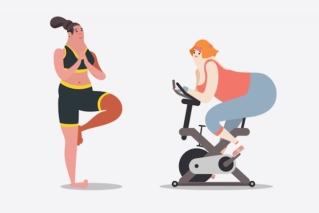 Cartoon character design illustration. Two\ women workout with yoga and bicycle in the gym.