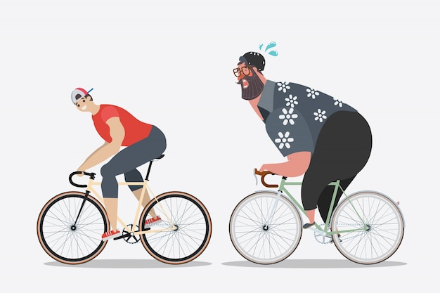 Cartoon character design. Slim men with fat men\ cycling.