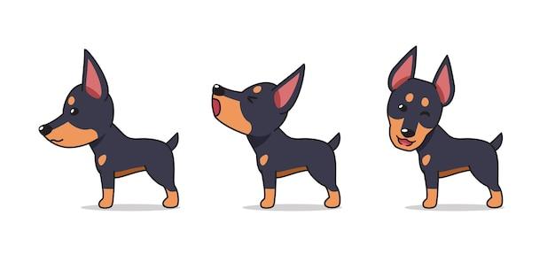 Мультяшный персонаж позы собаки добермана Premium векторы
