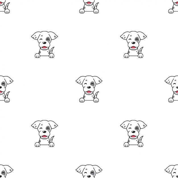 Cartoon character dog seamless pattern background Premium Vector