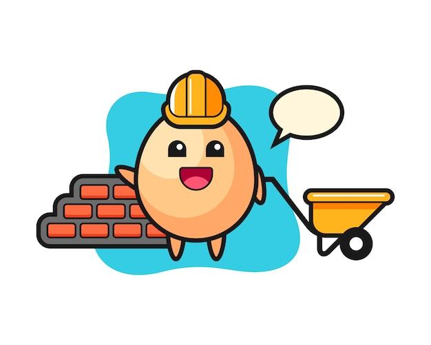 Cartoon character of egg as a builder, cute style design for t shirt, sticker, logo element Premium Vector