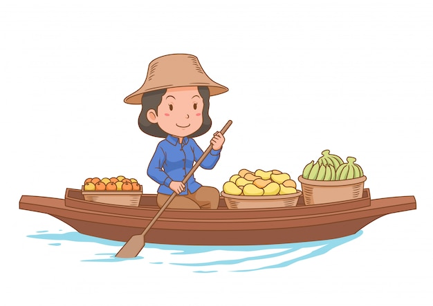 Cartoon character of floating market vendor rowing the boat. Premium Vector