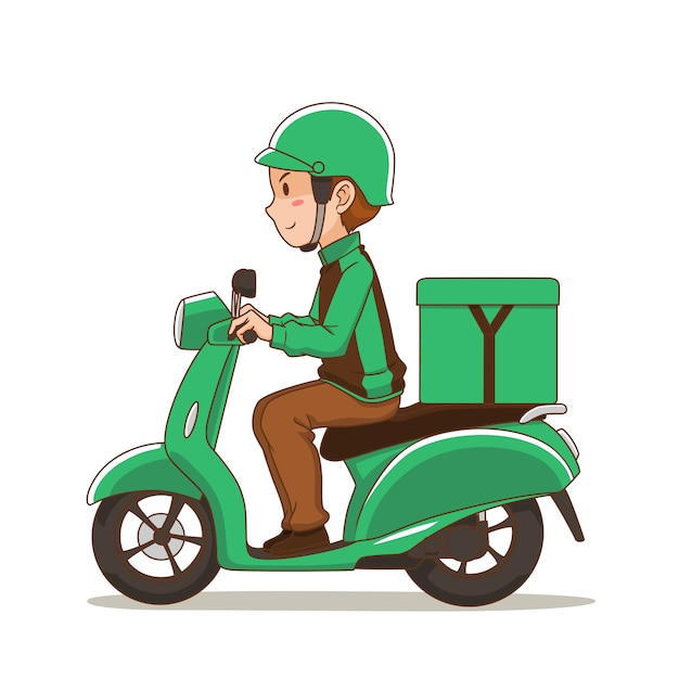 Cartoon character of food delivery man riding green motorcycle. Premium Vector