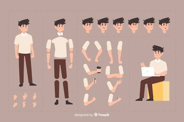 モーションデザインのための漫画のキャラクター 無料ベクター