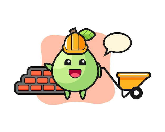 Cartoon character of guava as a builder, cute style  for t shirt, sticker, logo element Premium Vector