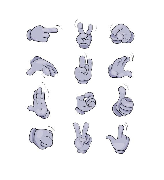 Cartoon character hands gestures set Free Vector