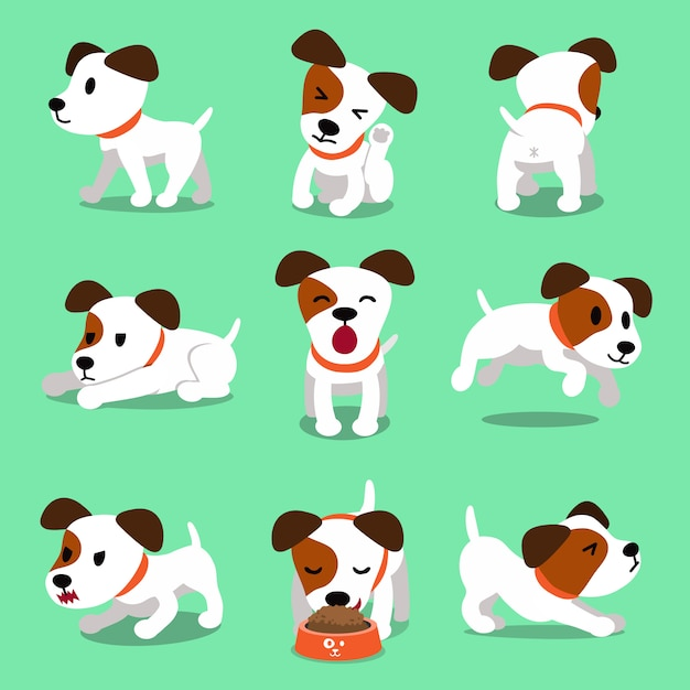 Cartoon character jack russell terrier dog poses Premium Vector