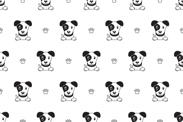 Cartoon character jack russell terrier dog seamless pattern Premium Vector