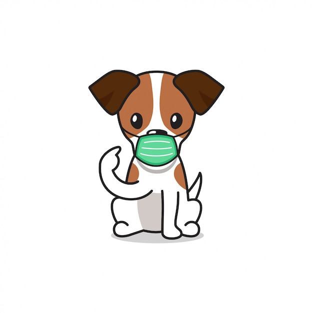 Cartoon Character Jack Russell Terrier Dog Wearing Protective Face