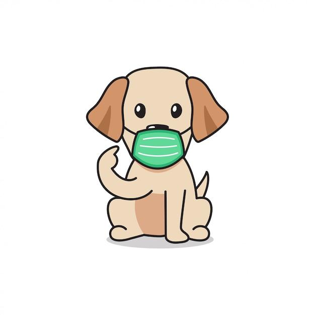 Cartoon Character Labrador Retriever Dog Wearing Protective Face