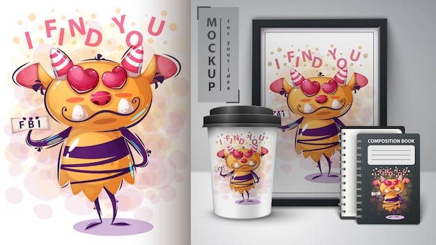 Cartoon character monster poster and merchandising Premium Vector