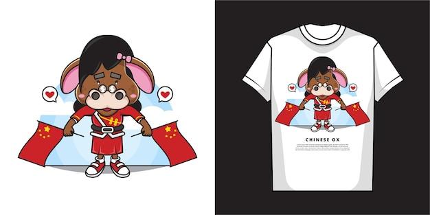 Мультипликационный персонаж очаровательной девушки-быка держит два китайских флага с дизайном футболки Premium векторы