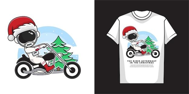 宇宙飛行士サンタクロースの漫画のキャラクターは、tシャツのデザインでバイクに乗っています Premiumベクター