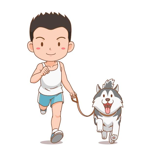 시베리안 허스키 강아지와 함께 실행하는 소년의 만화 캐릭터. 무료 벡터