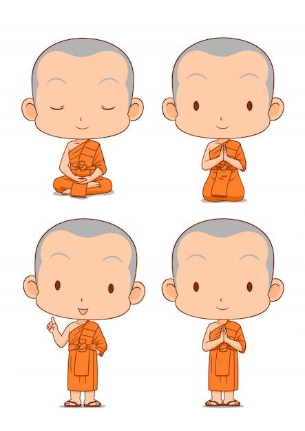 Мультипликационный персонаж буддийских монахов в разных позах. Premium векторы