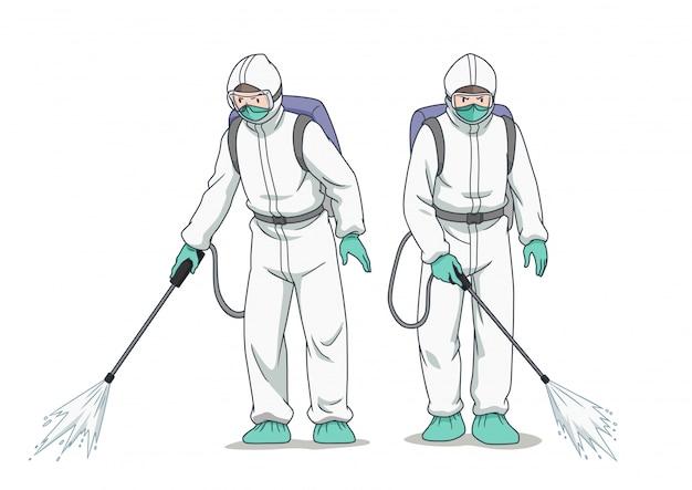防護マスクと服を着て、コロナウイルスまたはcovid-19をスプレーする消毒作業者の漫画のキャラクター。 Premiumベクター