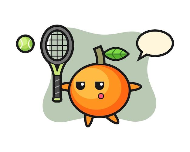 테니스 선수, 귀여운 스타일, 스티커, 로고 요소로 만다린 오렌지의 만화 캐릭터 프리미엄 벡터