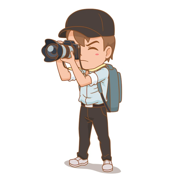 Мультипликационный персонаж фотографа. Бесплатные векторы