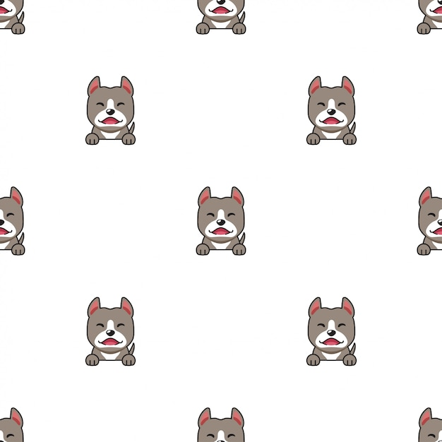 Cartoon character pitbull terrier dog seamless pattern background Premium Vector