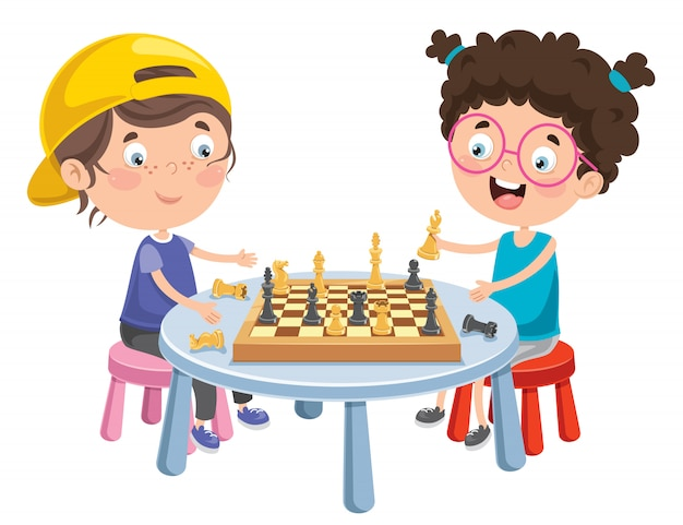 Cartoon character playing chess game | Premium Vector