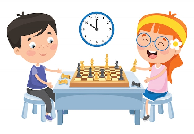 Cartoon character playing chess game Premium Vector
