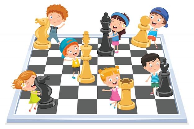 Cartoon character playing chess game Premium Vector