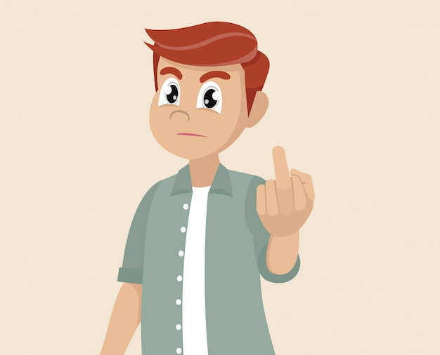 premium vector cartoon character poses man is showing the middle finger obscene gesture https www freepik com profile preagreement getstarted 6148968