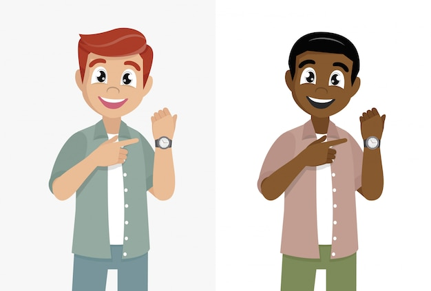 Cartoon character poses, man pointing or showing time on his wrist watch. male character design illustration. Premium Vector