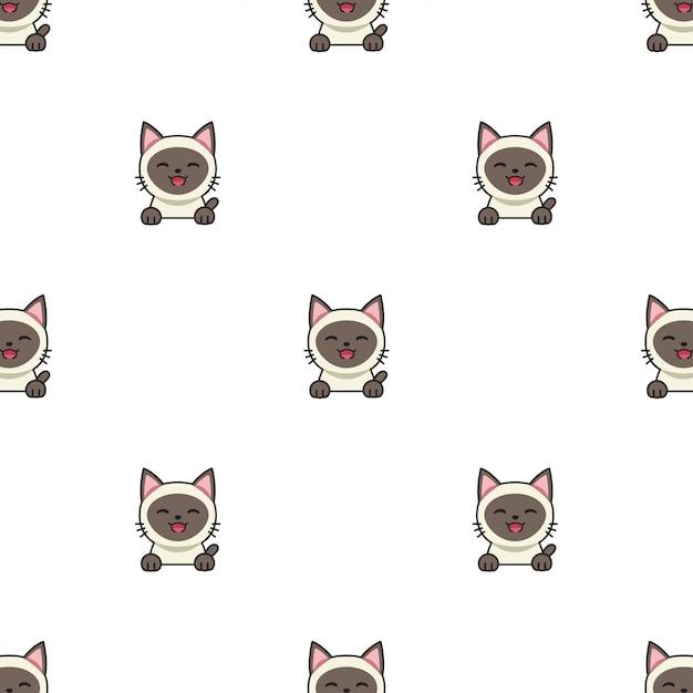 Cartoon character siamese cat seamless pattern background Premium Vector