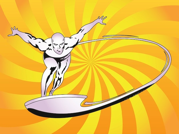 Characters Images Silver Pigstruction: Cartoon Character Silver Surfer Vector Vector