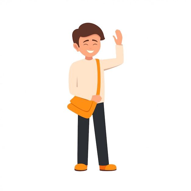Cartoon character smiling schoolboy raised his hand in greeting Premium Vector