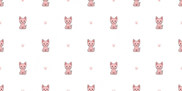 Cartoon character sphynx cat seamless pattern background Premium Vector