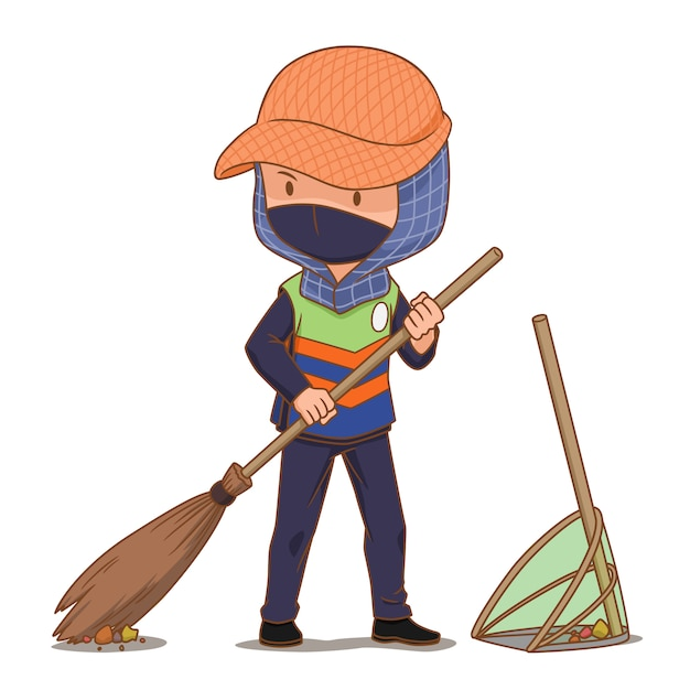 premium vector cartoon character of street cleaner sweeping the floor https www freepik com profile preagreement getstarted 7714076