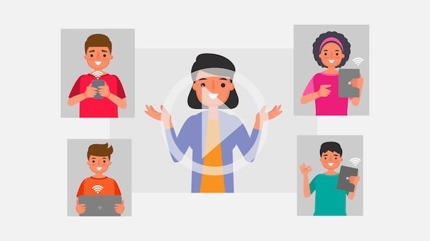 Персонаж из мультфильма концепции общения в группах студентов. дистанционное обучение информационные технологии иллюстрация образование онлайн обучение дома с эпидемической ситуацией содержание. Premium векторы