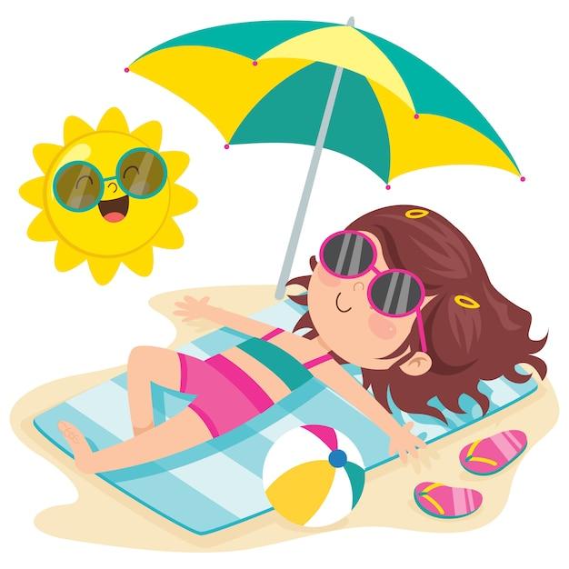 ビーチでの日光浴の漫画のキャラクター Premiumベクター