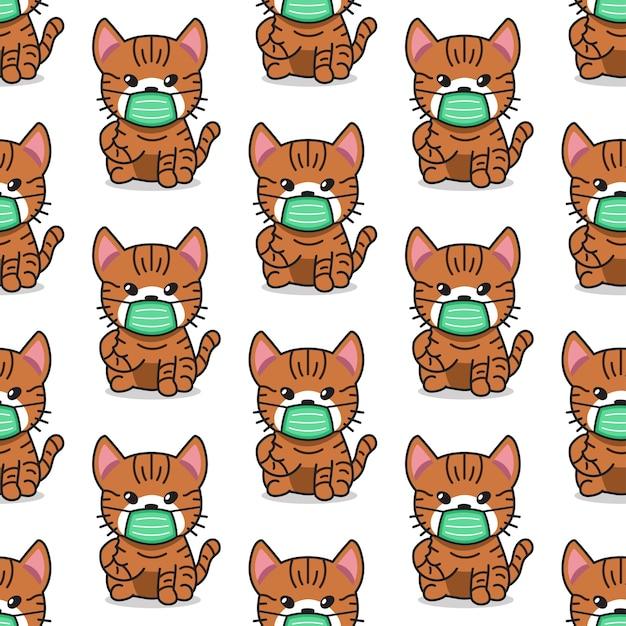 Мультипликационный персонаж полосатый кот в защитной маске бесшовный фон фон Premium векторы