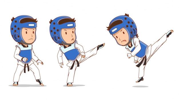 Cartoon character of taekwondo player. Premium Vector