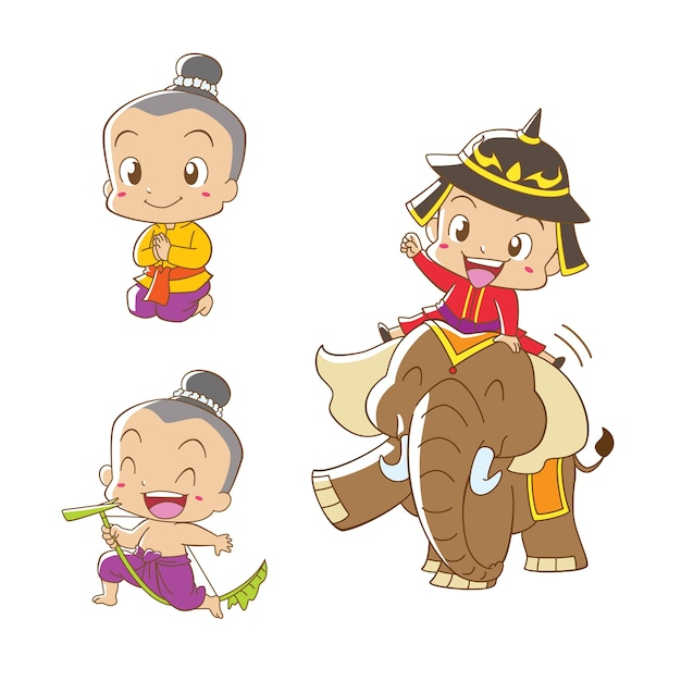 Cartoon character of thai boy in thai traditional costume. Premium Vector