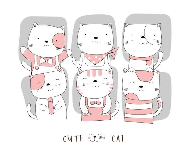 漫画のキャラクターのかわいい猫の赤ちゃん動物。手描きスタイル。 Premiumベクター