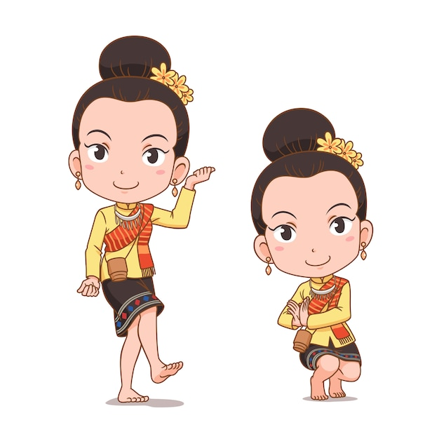 Cartoon Character Of Traditional Thai Dancer Girl Serng Kratip Dance Premium Vector