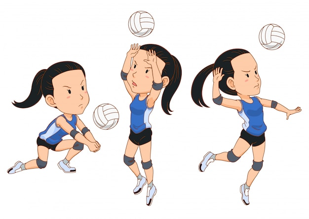 Premium Vector Cartoon Character Of Volleyball Player In Different Poses