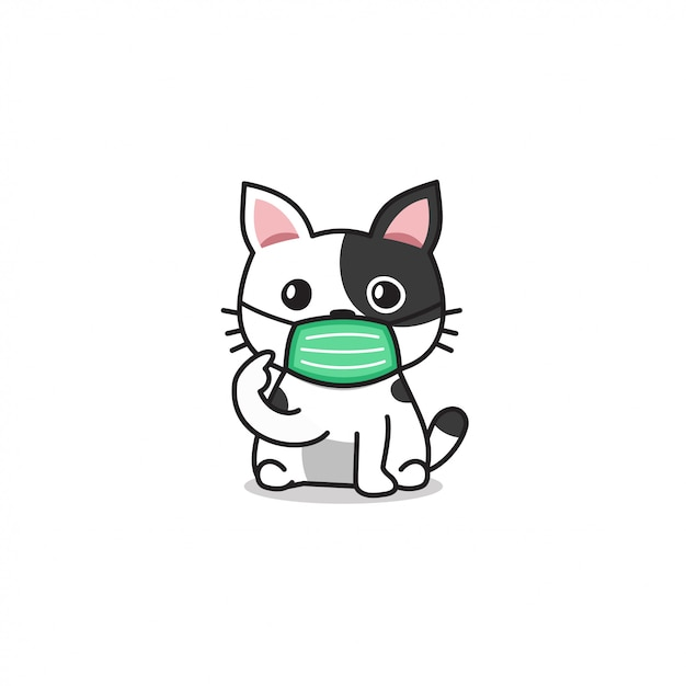 Cartoon Character White Cute Cat Wearing Protective Face Mask