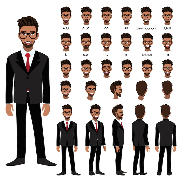 Cartoon character with african american business man in suit for animation. front, side, back, several view character. separate parts of body. flat vector illustration. Premium Vector