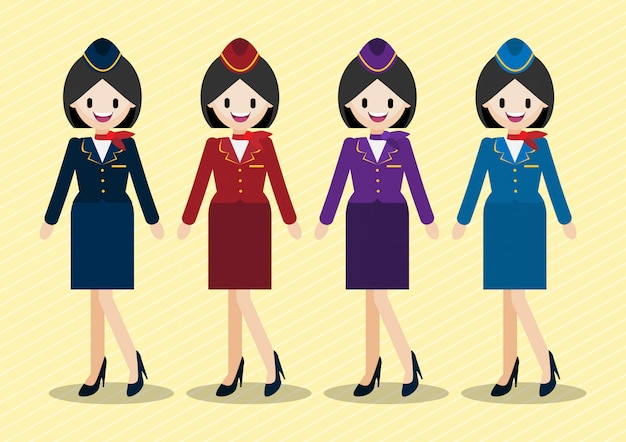 Cartoon character with beautiful air hostess and four work uniform styles. Premium Vector