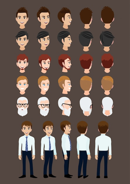 Cartoon character with business man for animation. Premium Vector