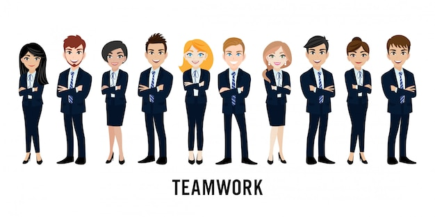 Cartoon character with business man and business woman Premium Vector